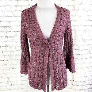 Purple Bell Sleeve Open Knit Crochet Cardigan